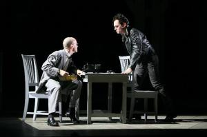 Gaines as Pontio Pilato in the 2008 Glimmerglass Opera production of Wagner's Das Liebesverbot, with Ryan MacPherson as Luzio (Photo: Cory Weaver)